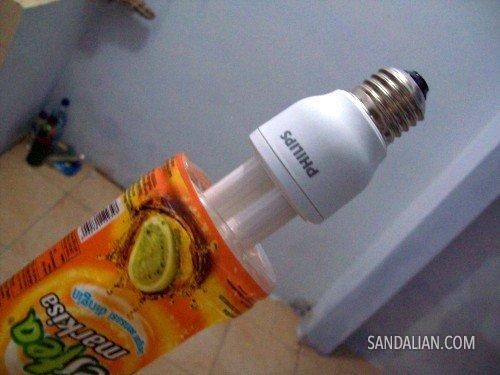 pasang lampu di pantat botol