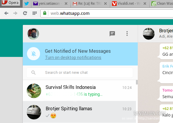 whatsapp for web di Opera