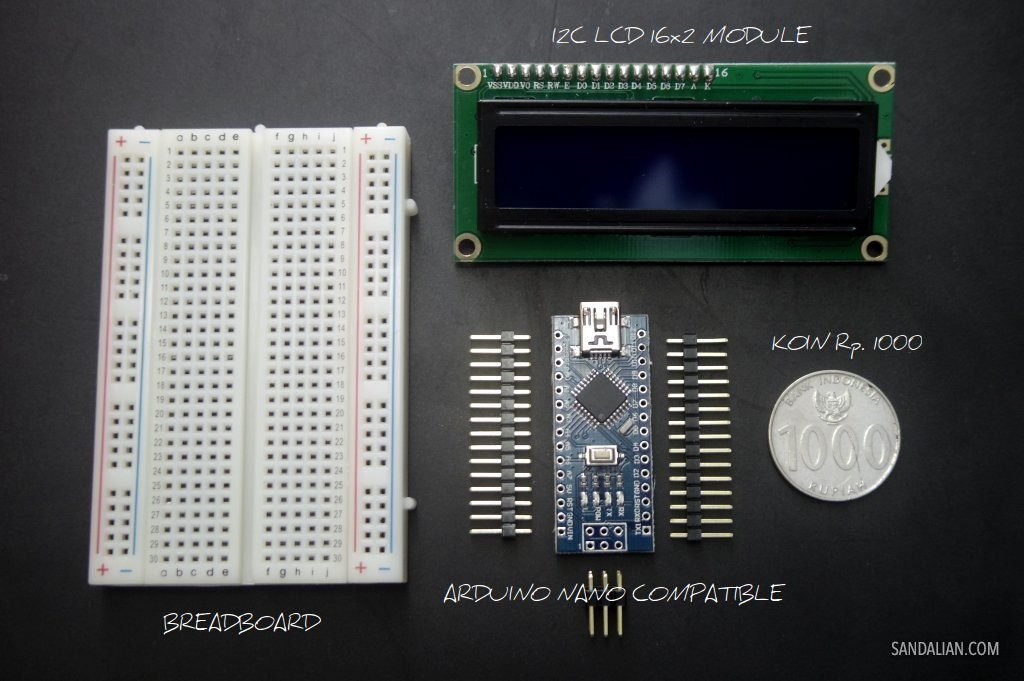 breadboard arduino nano compatible with pins i2c lcd 16x2 module uang receh 1000 rupiah