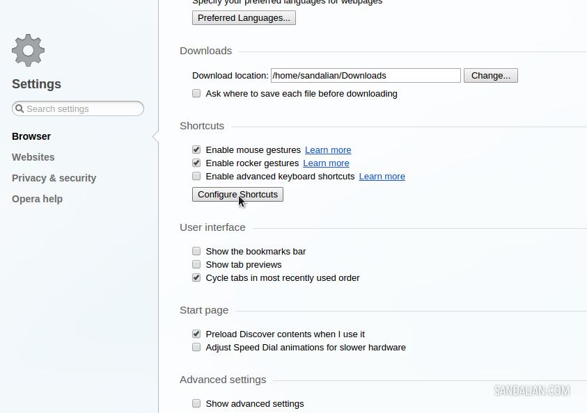 opera configure shortcut