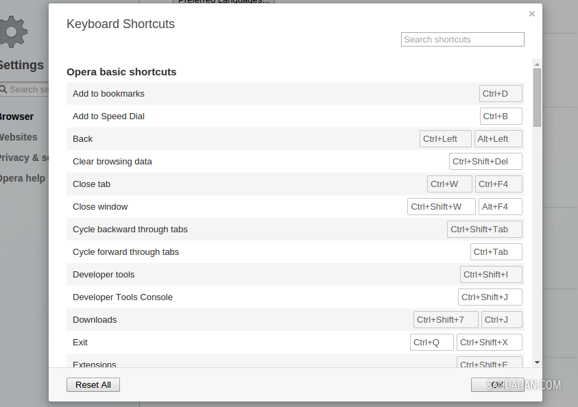 Halaman pengaturan shortcut keyboard